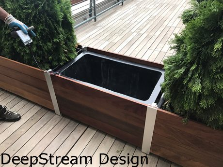 Sustainable Garden Planter Design waterproof plastic planter liner inside wooden planter box