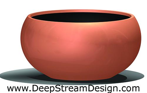 Modern round fiberglass garden planter - Aquarian