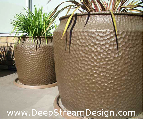 Craftsman FRP Planters with bronze metal-infused finish