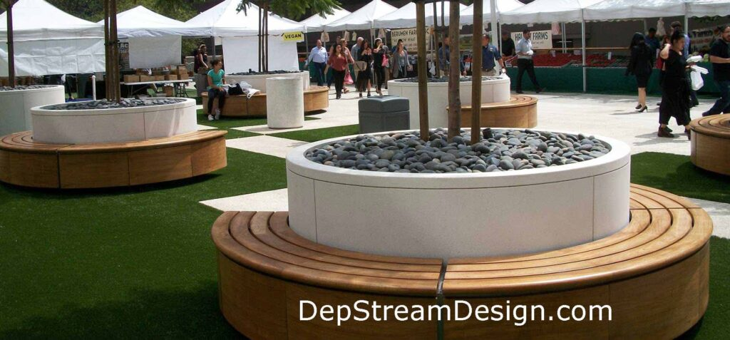 Click for more information on DeepStream Wilshire round commercial GFRC concrete Planters