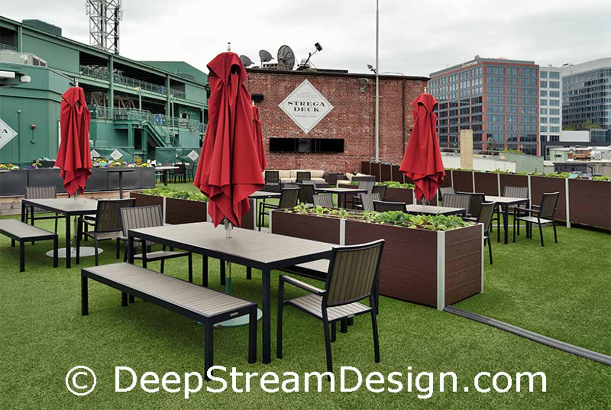 DeepStream Commercial Wood Planter in Recycled Plastic Lumber create a farm to table roof top garden at Boston's Fenway Park Strega Deck: click for details