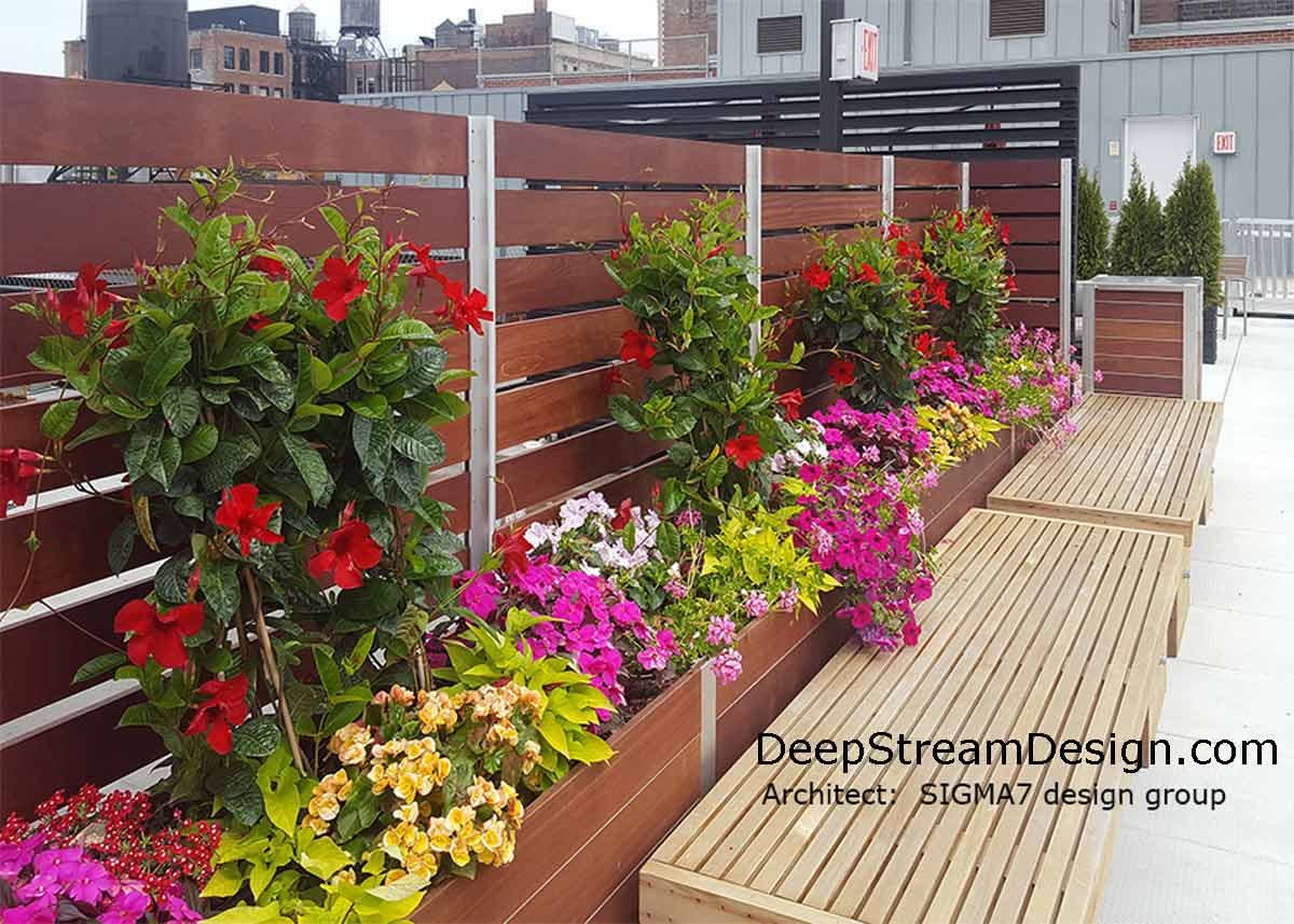 DeepStream large commercial planters with screen wall with correct soil mixture