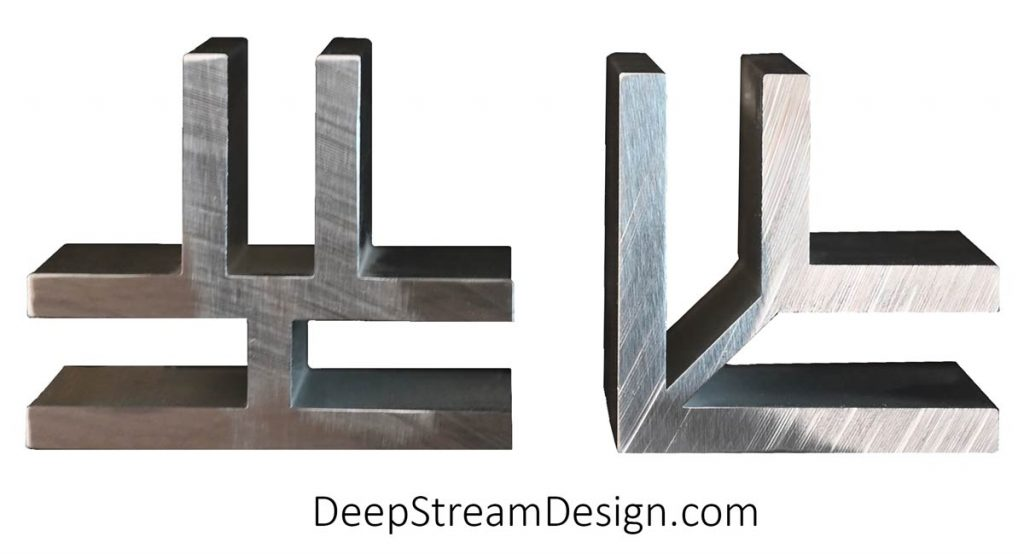 Studio photo of DeepStream Proprietary Trademark Mariner L and T marine anodized aluminum extrusions.