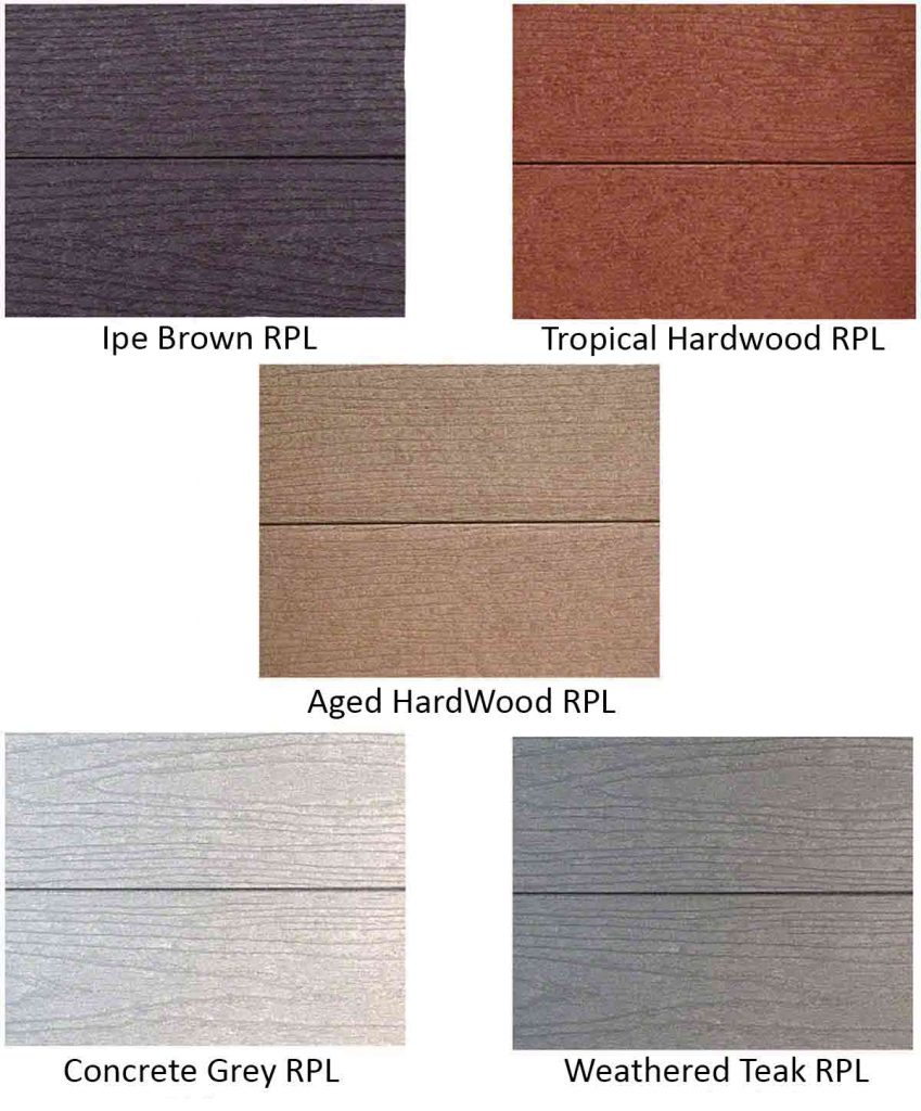 5 HDPE Recycled Plastic Lumber standard color options Ipe Brown, Tropical Hardwood, Aged Hardwood, Concrete Grey. and Weathered Teak